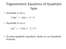 trigonometric equations of quadratic type