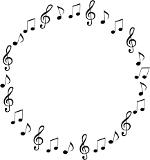 フリーイラスト 音符の円形フレーム パブリックドメインq著作権