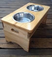 Wooden dog dish holder