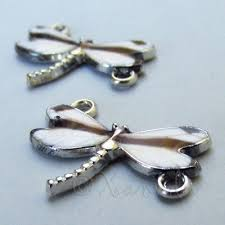 White Dragonfly 24mm <b>Silver Plated Enamel</b> Connector Charms ...
