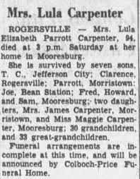 Obituary for Lula Elizabeth Parrott Carpenter (Aged 94) - Newspapers.com