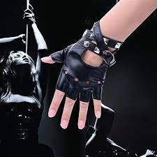 JISEN <b>Women Punk Rivets</b> Belt Up Half Finger PU Leather ...