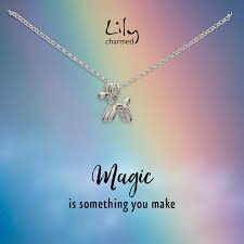 silver balloon dog necklace with magic messagesterling silver necklace 39