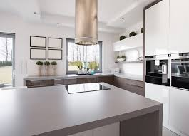 kitchens with island stoves. Gray Kitchen Island In A Modern Style With Circular Stove Hood Kitchens Stoves