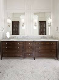 marble bathroom floors. Wainscoting, Marble, Polished Nickel And Walnut All Combined For An Elegant Timeless Master Bathroom In This Clients Home. Marble Floors