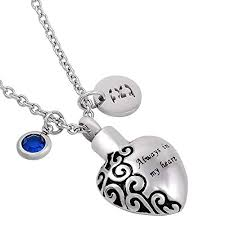 amazon personalized diy heart urn pendant cremation jewelry memorial locket ashes necklace jewelry