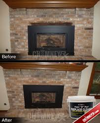 smoke stains on a fireplace before and after being cleaned with paint n