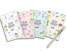 Set Of 4 Mini Coloring Books For Adult Relaxation Color Therapy Anti