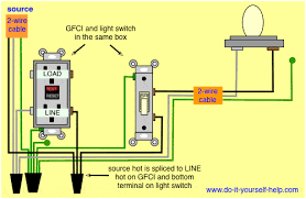 wiring diagrams for ground fault circuit interrupter receptacles gfci receptacle and light switch gfci receptacle and switch same box this diagram illustrates wiring