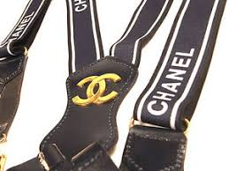 chanel suspenders. image is loading vintage-chanel-suspenders-braces-cc-logo-leather-elastic chanel suspenders