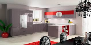 Stunning Grey and Red Kitchen Idea with White Floor