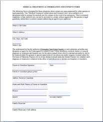 medical treatment authorization and consent form permission letter for medical treatment