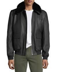stefano ricci men s fur collar leather jacket