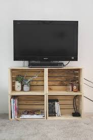 DIY TV Stand from Old Crates