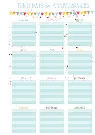 Birthday Anniversary Calendar Birthdays Anniversaries On One Page Free Printable Free