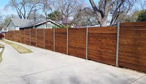 horizontal wood fence with metal posts.  Horizontal Horizontal Custom Wood Fence With Metal Posts And Stain For Horizontal Wood Fence With Metal Posts Pinterest