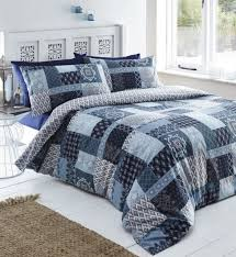 navy blue sky blue remi fl damask patchwork superking size duvet cover set