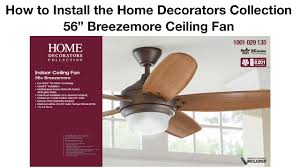 how to install the 56 in breezemore ceiling fan youtube