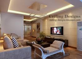 false ceiling designs for living room from gypsum with lighting and luxurious chandelier
