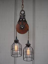 pulley pendant lighting. industrial pulley pendant lighting ideas for traditional room with spiral cable combine black iron shade and rubber holder featuring old chaiu2026 a