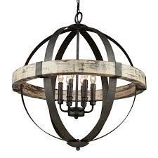 artcraft lighting castello 6 light black aspen wood craftsman globe chandelier