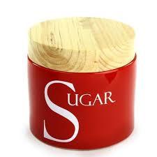 Red Stoneware Sugar Storage Jar. Kitchen ...