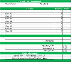 School Report Card Format 25 Best Homeschool Grade Cards Images Report Cards Card Templates