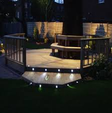 lighting in garden. Light Risers And Create Led Patterns Around Your Deck Lighting In Garden