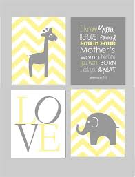 yellow and grey nusery jeremiah 1 5 elephant nursery before you were born giraffe nursery wall art set of four 8 x10 prints wall art sets  on yellow and grey wall art nursery with yellow and grey nusery jeremiah 1 5 elephant nursery before you
