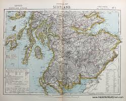 Statistical Map Of Scotland One Of Three Antique Maps And
