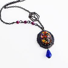 glass pendant beaded necklace art deco jewelry gallery photo