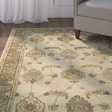 charlton home donohoe hand woven cream gold area rug