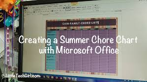 Chore Software Creating A Summer Chore Chart With Microsoft Office