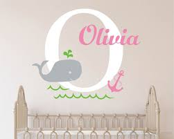 baby whale wall decal with personalised