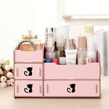 diy wooden cosmetic storage box drawer makeup organizer case storage concept of diy makeup organizer