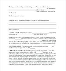 Equipment Lease Agreement Template Free Download Blank Rental Ideas ...