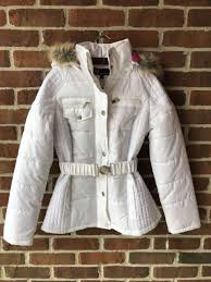 juniors white winter puffer coat w faux fur hood nwt dollhouse