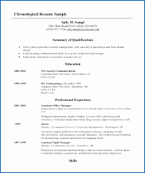 Chronological Resume Format Template Awesome Resume Sample For An