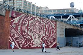 dumbo walls project featuring new street art by shepard fairey and other artists