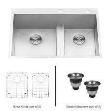 ruvati drop in stainless steel 33 in 60 40 low wide divide