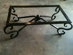wrought iron glass coffee table black