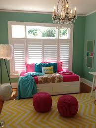 unique teen room decor ideas with green wall paint color and white from colorful unique pattern