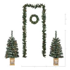 Pre Lit Christmas Tree With Colored And White Lights Holiday Time Pre Lit Christmas Tree Entryway Set White