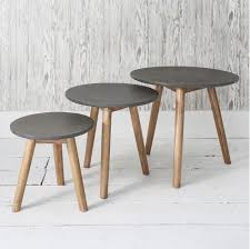 concrete and wood furniture. Hudson Living Bergen Nest Of Tables Grey Concrete And Wood Furniture