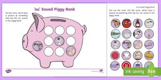 These worksheets feature five key words that end in 'ing'. Au Sound Piggy Bank Worksheet Teacher Made