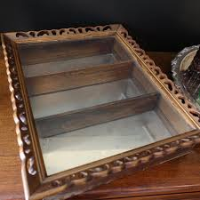 vtg wood display case curio cabinet wall hanging glass door wooden shadow box 1 of 9only 1 available see more