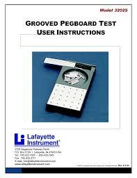 Lafayette 32025 Grooved Pegboard Test Manual Manualzz Com