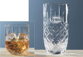 hand cut crystal whiskey hi ball glasses engraved