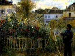 claude monet painting in his garden at