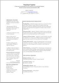 Resume For Preschool Teacher Resume For Study